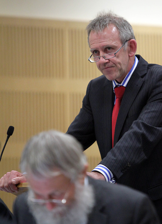 For Solid Energy NZ Limited Craig Stevens gives a submission to the Royal Commission on the Pike River Coal Mine Tragedy as it enters it's final stage in the District Court, Greymouth, New Zealand, Monday, April 02, 2012. Credit:SNPA / The Press, Kirk Hargreaves  **POOL**.