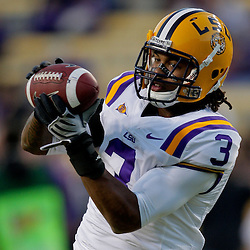 Oct 31, 2009; Baton Rouge, LA, USA;  LSU Tigers safety Chad Jones (3) catches a pass in warm ups prior to kickoff against the Tulane Green Wave at Tiger Stadium.  Mandatory Credit: Derick E. Hingle