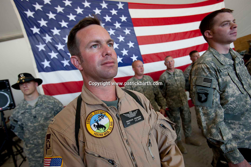 Jalalabad, Eastern Afghanistan:  Medevac Pilot Brandon Erdmann receives a Combat Action Badge for bravery for an extremely dangerous Medevac mission in Eastern Afghanistan.