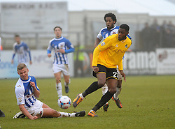 Bristol Rovers' Nathan Blissett  shot is blocked by Nuneaton Town's Gareth Dean - Photo mandatory by-line: Neil Brookman/JMP - Mobile: 07966 386802 - 04/01/2015 - SPORT - football - Nuneaton - James Parnell Stadium - Nuneaton Town v Bristol Rovers - Vanarama Conference