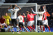Fulham Striker, Ross McCormack (44) hitting the post from free kick during the Sky Bet Championship match between Fulham and Nottingham Forest at Craven Cottage, London, England on 23 April 2016. Photo by Matthew Redman.