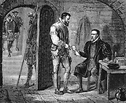 William Tyndale of Tindale (c1494-1536), English translator of the Bible, on morning of his death, giving his jailer a packet for John Rogers (pseudonym of Thomas Mather) thought to have contained his work on the Old Testament. Late 19th century wood engraving.