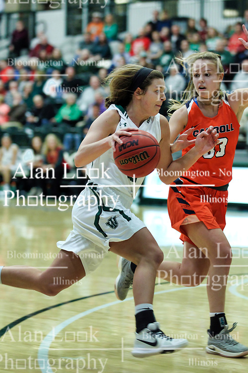 BLOOMINGTON, IL - December 15: Sydney Shanks and Amanda Hooks during a college women's basketball game between the IWU Titans  and the Carroll Pioneers on December 15 2018 at Shirk Center in Bloomington, IL. (Photo by Alan Look)