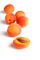 Studio shot of apricot on white background