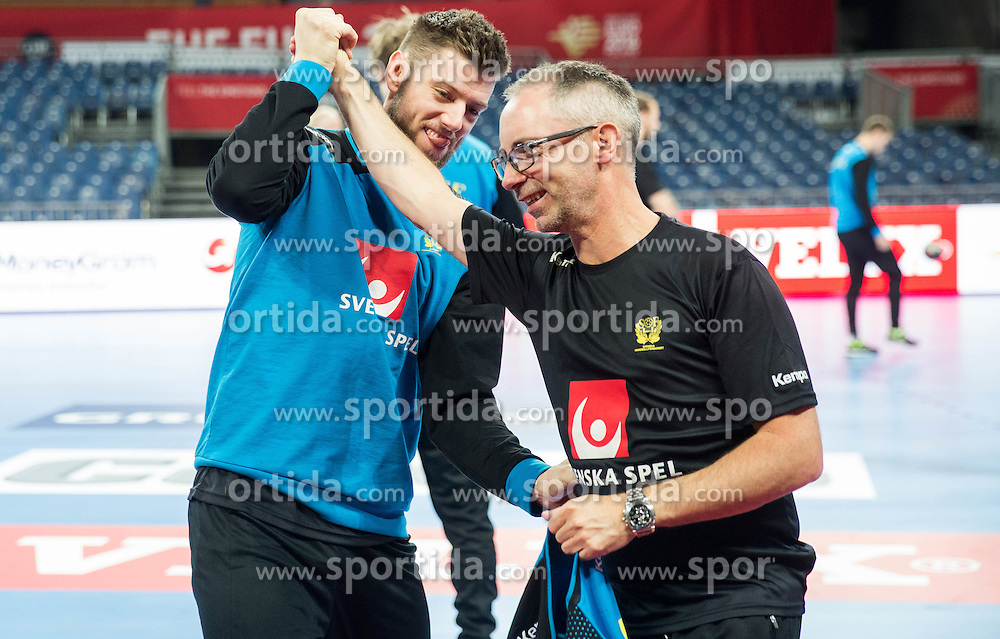 Niclas Ekberg and  Inge Dahlberg during practice session of Team Sweden on Day 1 of Men's EHF EURO 2016, on January 15, 2016 in Centennial Hall, Wroclaw, Poland. Photo by Vid Ponikvar / Sportida