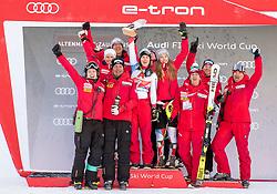 12.01.2020, Keelberloch Rennstrecke, Altenmark, AUT, FIS Weltcup Ski Alpin, Alpine Kombination, Damen, Siegerehrung, im Bild Temafoto Schweiz mit Wendy Holdener (SUI, 2. Platz) // teamphoto switzerland with second placed Wendy Holdener of Switzerland during the winner ceremony of women's Alpine combined for the FIS ski alpine world cup at the Keelberloch Rennstrecke in Altenmark, Austria on 2020/01/12. EXPA Pictures © 2020, PhotoCredit: EXPA/ Johann Groder