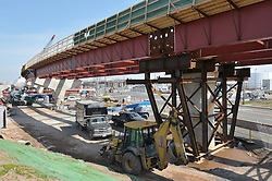 Pearl Harbor Memorial Bridge Foundation and NB West Approach Construction. Part of the I-95 New Haven Corridor  Harbor Crossing Improvement Program. Fifth Progress Photography Capture, Contract B1, Project 92-618. Site photographed every 4 months as per CT DOT specifications.