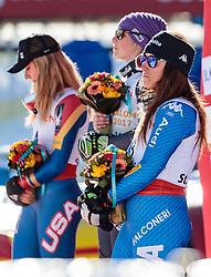 16.02.2017, St. Moritz, SUI, FIS Weltmeisterschaften Ski Alpin, St. Moritz 2017, Riesenslalom, Damen, Flower Zeremonie, im Bild v.l. Mikaela Shiffrin (USA, Damen Riesenslalom Silbermedaille), Tessa Worley (FRA, Damen Riesenslalom Weltmeisterin und Goldmedaille), Sofia Goggia (ITA, Damen Riesenslalom Bronzemedaille) // f.l. ladie's Giant Slalom Silver medalist Mikaela Shiffrin of the USA ladie's Giant Slalom world Champion and Gold medalist Tessa Worley of France ladie's Giant Slalom Bronze medalist Sofia Goggia of Italy during the Flowers ceremony for the ladie's Giant Slalom of the FIS Ski World Championships 2017. St. Moritz, Switzerland on 2017/02/16. EXPA Pictures © 2017, PhotoCredit: EXPA/ Johann Groder