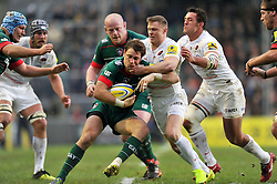 Blaine Scully of Leicester Tigers is tackled by Chris Ashton of Saracens - Photo mandatory by-line: Patrick Khachfe/JMP - Mobile: 07966 386802 16/11/2014 - SPORT - RUGBY UNION - Leicester - Welford Road - Leicester Tigers v Saracens - Aviva Premiership