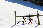 Snow scene with antique bike