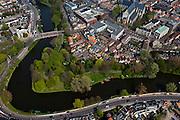 Nederland, Noord-Holland, Alkmaar, 28-04-2010; Clarissenbolwerk, binnenstad met Grote kerk of Sint-Laurenskerk..luchtfoto (toeslag), aerial photo (additional fee required).foto/photo Siebe Swart