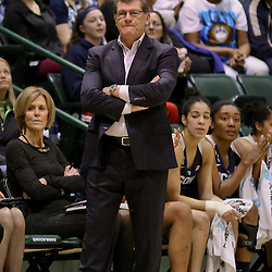 Feb 3, 2016; New Orleans, LA, USA; Connecticut Huskies head coach Geno Auriemma against the Tulane Green Wave during the second quarter of a game at the Devlin Fieldhouse. Mandatory Credit: Derick E. Hingle-USA TODAY Sports
