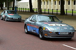 Image ©Licensed to i-Images Picture Agency. 18/06/2014. <br /> <br /> Nine Porsche 944's, all bought for £1100 of less, set of from the Mall, London on a rally across Northern Europe to Nordkapp in Norway in an attempt to raise £100,000 for Help For Heroes.<br /> <br /> Wednesday 18th June 2014<br /> Picture by Ben Stevens / i-Images