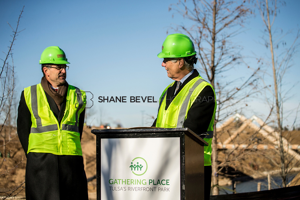 1/12/18 11:07:05 AM -- Halliburton CEO Jeff Miller and George Kaiser visit the Gathering Place for a press conference announcing Halliburton's support for the park. <br /> <br /> Photo by Shane Bevel