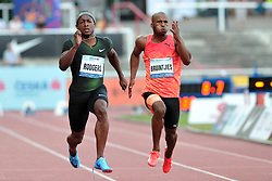 June 4, 2018 - Prague, Czech Republic - Michael Rodgers (L) of USA during the men's 100m at the Josef Odlozil Memorial Athletic Classic Meeting EA Premium in Prague in the Czech Republic. Michael Rodgers celebrates victory with time 9,92 s , the best performance of the year. The Josef Odlozil Memorial is an annual track and field meeting which takes place in June at Stadion Juliska in Prague. (Credit Image: © Slavek Ruta via ZUMA Wire)