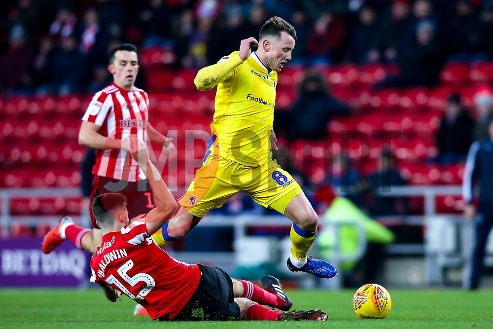 Ollie Clarke of Bristol Rovers is tackled by Jack Baldwin of Sunderland - Mandatory by-line: Robbie Stephenson/JMP - 15/12/2018 - FOOTBALL - Stadium of Light - Sunderland, England - Sunderland v Bristol Rovers - Sky Bet League One