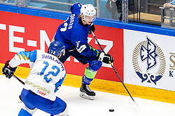 Jan Drozg of Slovenia vs Yegor Shalapov of Kazakhstan during ice hockey match between Slovenia and Kazakhstan at IIHF World Championship DIV. I Group A Kazakhstan 2019, on April 29, 2019 in Barys Arena, Nur-Sultan, Kazakhstan. Photo by Matic Klansek Velej / Sportida
