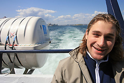 Robert Kristan at whale watching boat, when some guys of Slovenian Team were celebrating an anniversary of playing for the team, during IIHF WC 2008 in Halifax,  on May 07, 2008, sea at Halifax, Nova Scotia, Canada. (Photo by Vid Ponikvar / Sportal Images)