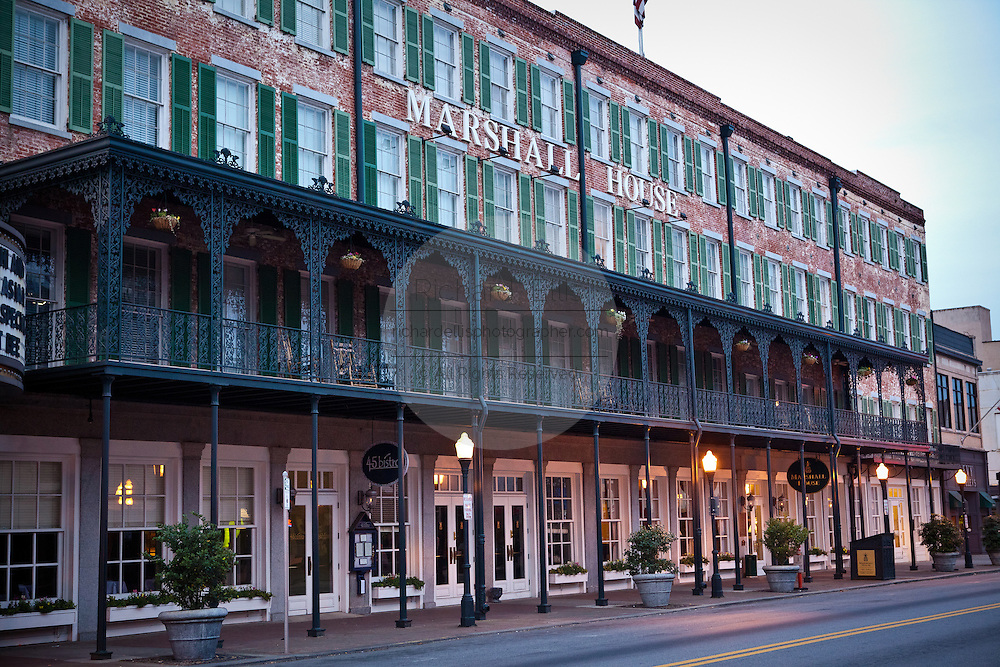 Historic Marshall House Hotel in Savannah, Georgia, USA.