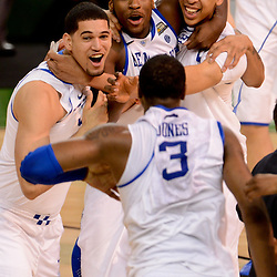 Apr 2, 2012; New Orleans, LA, USA; Kentucky Wildcats forward Eloy Vargas (left), forward Michael Kidd-Gilchrist (center), forward Anthony Davis (right) and Terrence Jones (bottom) celebrate after defeating the Kansas Jayhawks 67-59 in the finals of the 2012 NCAA men's basketball Final Four at the Mercedes-Benz Superdome. Mandatory Credit: Derick E. Hingle-US PRESSWIRE