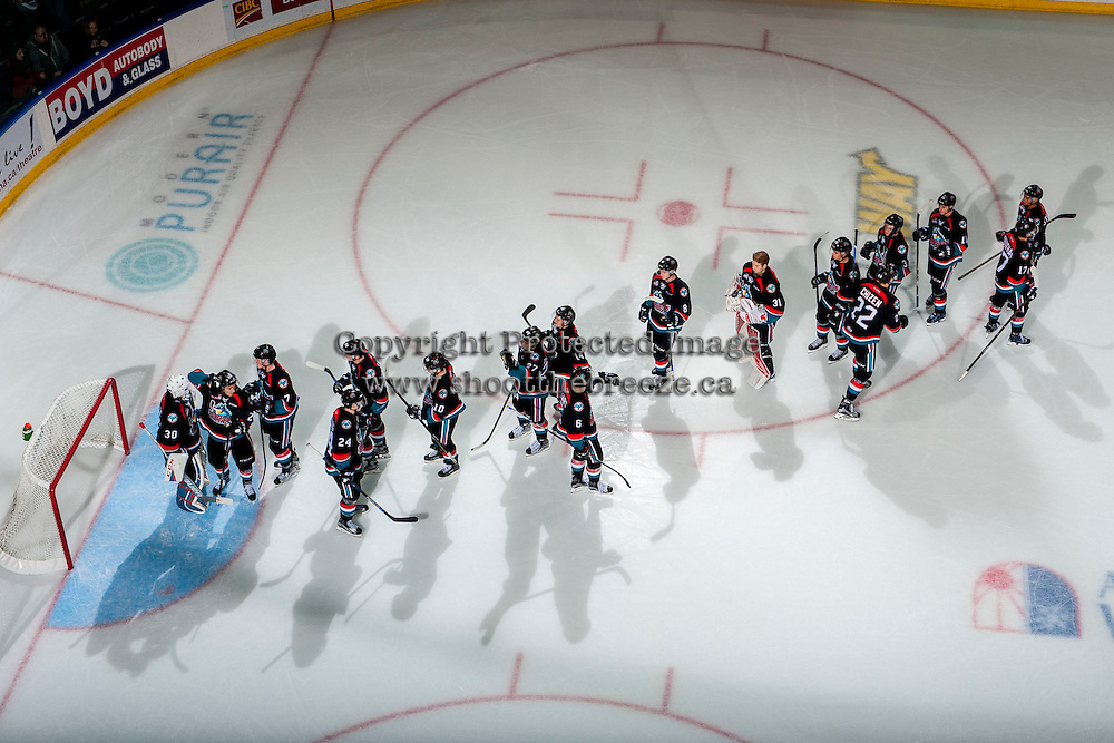KELOWNA, CANADA - OCTOBER 26: The Kelowna Rockets celebrate the win against the Victoria Royals on October 26, 2016 at Prospera Place in Kelowna, British Columbia, Canada.  (Photo by Marissa Baecker/Shoot the Breeze)  *** Local Caption ***