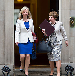 © Licensed to London News Pictures. 02/06/2015. Westminster, UK. Secretary of State for Environment, Food and Rural Affairs, LIZZ TRUSS (left) and Leader of the House of Lords, Baroness Stowell leaving Number 10 Downing Street in London following a cabinet meeting. Photo credit: Ben Cawthra/LNP