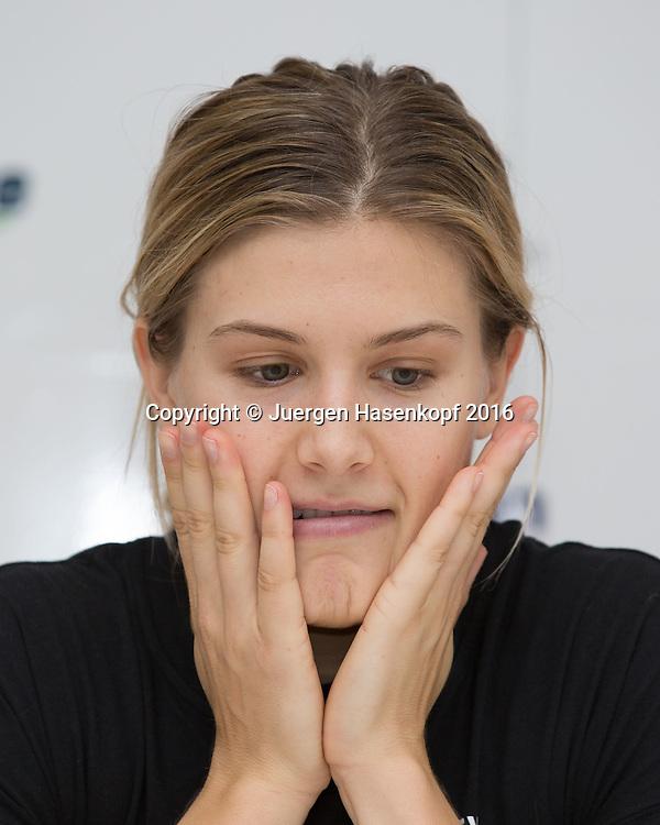 EUGENIE BOUCHARD (CAN), Pressekonferenz<br /> <br /> Tennis - Pressekonferenz - WTA -  TipsArena - Linz - Oberoesterreich - Oesterreich  - 11 October 2016. <br /> &copy; Juergen Hasenkopf