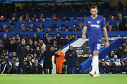 Yevhen Khacheridi of PAOK FC (34) receives a red card and is sent off during the Champions League group stage match between Chelsea and PAOK Salonica at Stamford Bridge, London, England on 29 November 2018.