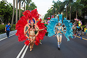Young women in feathered costumes march in an arts parade. The Dream Parade is an annual arts carnival and street parade that takes place in Taipei. The event is the brainchild of real estate developer Gordon Tsai who founded the Dream Community after being inspired by simialr events in other parts of the world.
