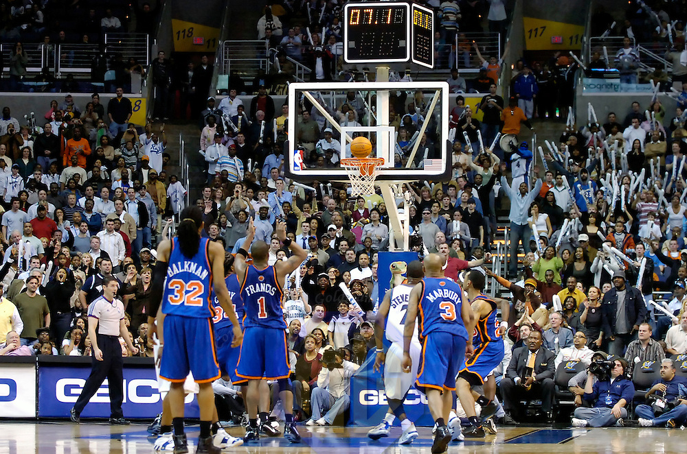 10 March 2007:   New York Knicks guard Steve Francis (1) misses a foul shot with 7.1 seconds remaining that would have tied the game against the Washington Wizards at the Verizon Center in Washington, D.C.  Francis won the game for the Knicks with a 3-point shot with 1 second remaining that defeated the Wizards 90-89.