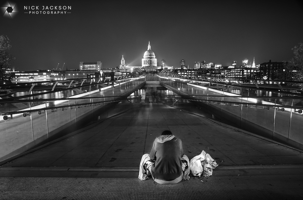 I rarely make people the centre point of my photographs, preferring instead to shoot buildings or landscapes.  I&rsquo;d decided to visit the Southbank of the Thames late at night to capture the angles of the illuminated Millennium Bridge running across the river towards St Paul&rsquo;s Cathedral.<br />