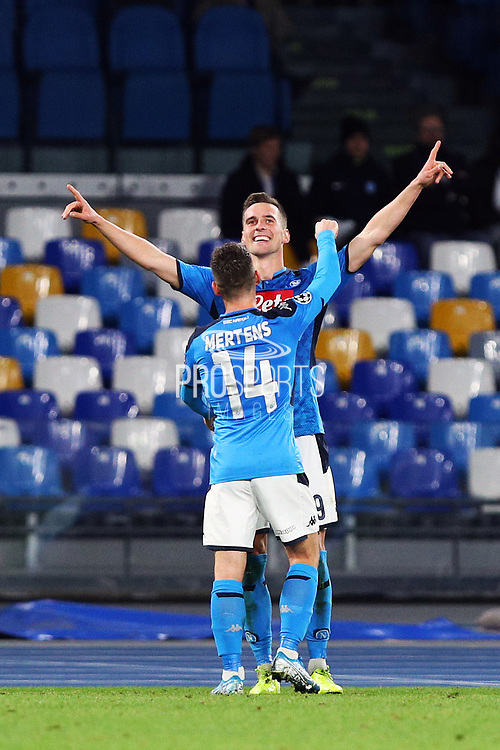 Arkadiusz Milik of Napoli celebrates after scoring 3-0 goal by penalty during the UEFA Champions League, Group E football match between SSC Napoli and KRC Genk on December 10, 2019 at Stadio San Paolo in Naples, Italy - Photo Federico Proietti / ProSportsImages / DPPI