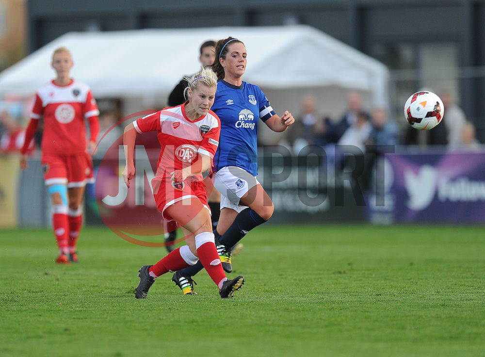 Bristol Academy's Nikki Watts shoots outside the box and scores. - Photo mandatory by-line: Alex James/JMP - Mobile: 07966 386802 23/08/2014 - SPORT - FOOTBALL - Bristol  - Bristol Academy v Everton Ladies - FA Women's Super league