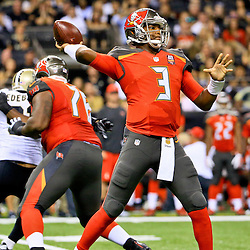 Sep 20, 2015; New Orleans, LA, USA; Tampa Bay Buccaneers quarterback Jameis Winston (3) against the New Orleans Saints during the second quarter of a game at the Mercedes-Benz Superdome. Mandatory Credit: Derick E. Hingle-USA TODAY Sports