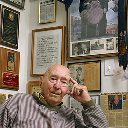 John Van Cuyk, 85, with various memorabilia on his wall from his baseball career at his home in Rochester, Minnesota Wednesday May 16, 2007. Van Cuyk played with Jackie Robinson with the Brooklyn Dodgers 60 years ago. (Christina Paolucci)