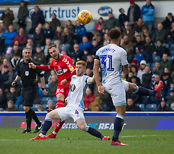 Lewis Wing of Middlesbrough (L) has a shot at goal - Mandatory by-line: Jack Phillips/JMP - 17/02/2019 - FOOTBALL - Ewood Park - Blackburn, England - Blackburn Rovers v Middlesbrough - English Football League Championship