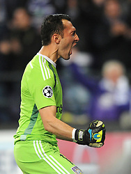 Anderlecht's Silvio Proto celebrates his side's goal - Photo mandatory by-line: Dougie Allward/JMP - Mobile: 07966 386802 - 22/10/2014 - SPORT - Football - Anderlecht - Constant Vanden Stockstadion - R.S.C. Anderlecht v Arsenal - UEFA Champions League - Group D