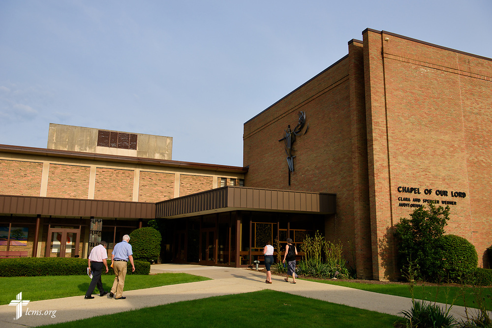 Conference attendees walk to the Chapel of Our Lord for Matins during the 2017 Institute on Liturgy, Preaching and Church Music on Wednesday, July 26, 2017, at Concordia University Chicago in River Forest, Ill. LCMS Communications/Erik M. Lunsford