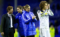 LIVERPOOL, ENGLAND - Wednesday, October 26, 2011: Chelsea's Fernando Torres celebrates his side's extra-time win against Everton with manager Andre Villas-Boas, Frank Lampard and David Luiz after the Football League Cup 4th Round match at Goodison Park. (Pic by Vegard Grott/Propaganda)
