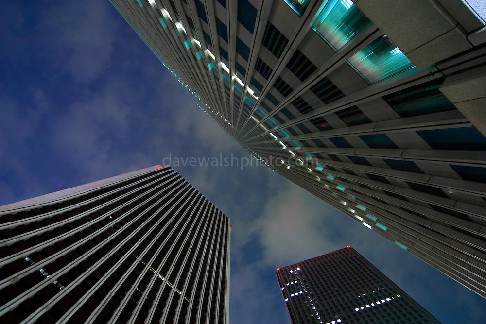 Skyscrapers, Shinkuju Tokyo; the Shinjuku Nomura building, the Sompo Japan Head Office and the Shinjuku Centre Building..