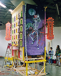 Mars Hotel Float set up backstage for the Mardi Gras Parade. Grateful Dead Oakland Coliseum Concert 25 February 1995.