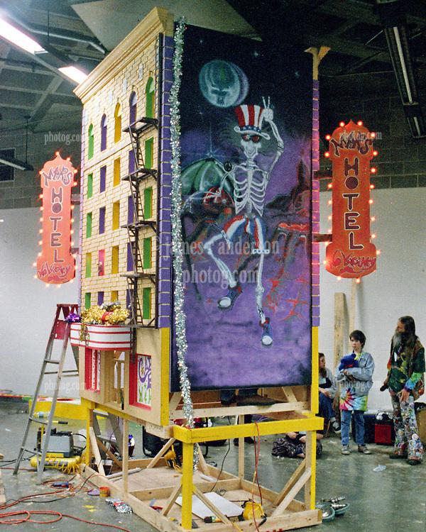 Mars Hotel Float set up backstage for the Mardi Gras Parade. Grateful Dead Oakland Coliseum Concert 25 February 1995.