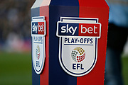 The Sky bet play offs logo during the EFL Sky Bet League 2 play off first leg match between Tranmere Rovers and Forest Green Rovers at Prenton Park, Birkenhead, England on 10 May 2019.