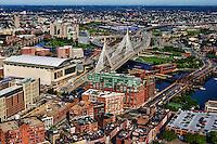 TD Place, Zakim Bunker Hill Bridge & Charlestown Bridge (left to right)