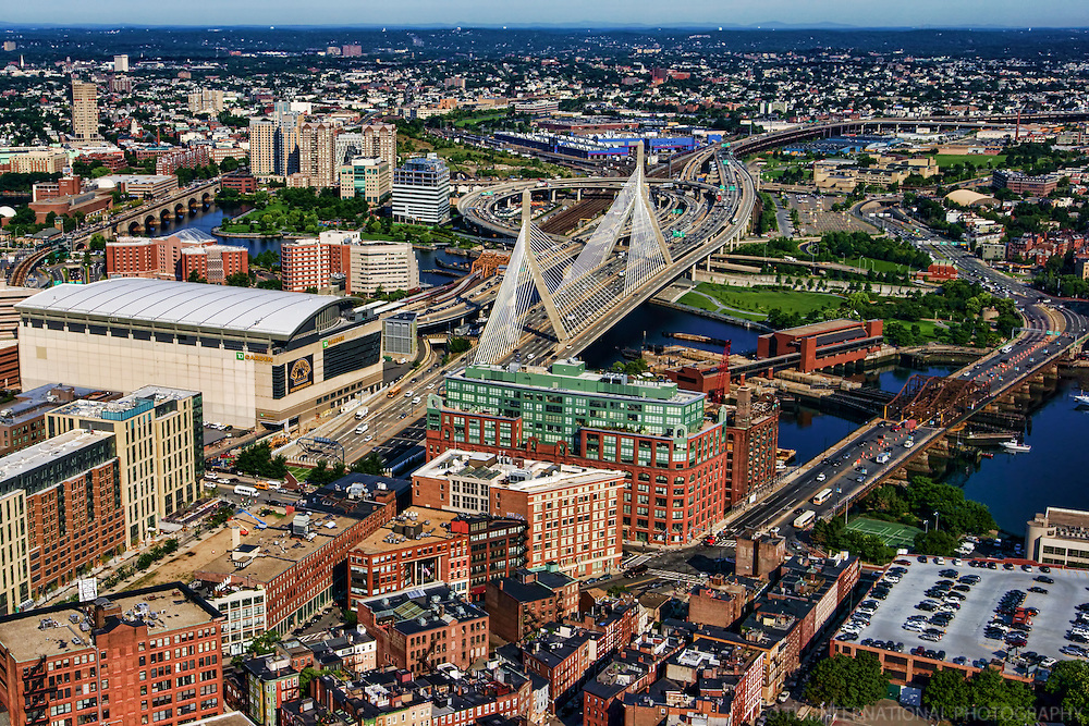 TD Place, Zakim Bunker Hill Bridge & Charlestown Bridge (left to right)