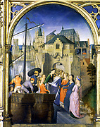 Shrine (Reliquary) of St Ursula, 1489. Gilded, painted wood. Hans Memling (1430/1440-1494) South Netherlandish painter.  St Ursula (4th century) and her 10,000 virgins arriving in Cologne Pilgrimage Christian  Boat Ship Sail