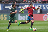 Benat of Athletic Club and De Las Cuevas of Club Atletico Osasuna during the match of  La Liga between Club Atletico Osasuna and Athletic Club Bilbao at El Sadar Stadium  in Pamplona, Spain. April 01, 2017. (ALTERPHOTOS / Rodrigo Jimenez)
