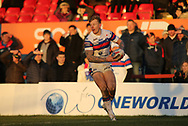 Tom Johnstone of Wakefield Trinity on the attack against Halifax RLFC during the Pre-season Friendly match at Belle Vue, Wakefield<br /> Picture by Stephen Gaunt/Focus Images Ltd +447904 833202<br /> 07/01/2018