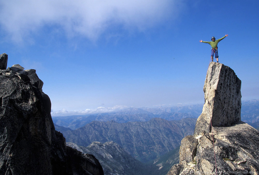 Colin Haley on Chianti Spire, North Cascades National Park