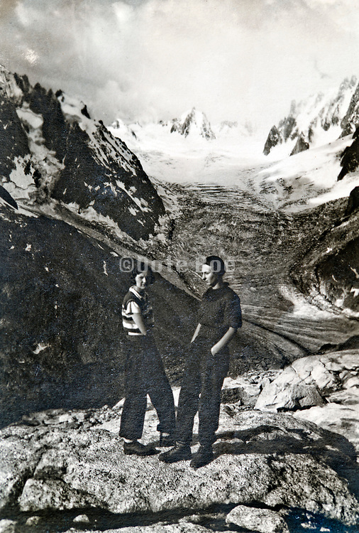 La Tour Ronde posing with the glacier de la Brenva in the Alps 1934